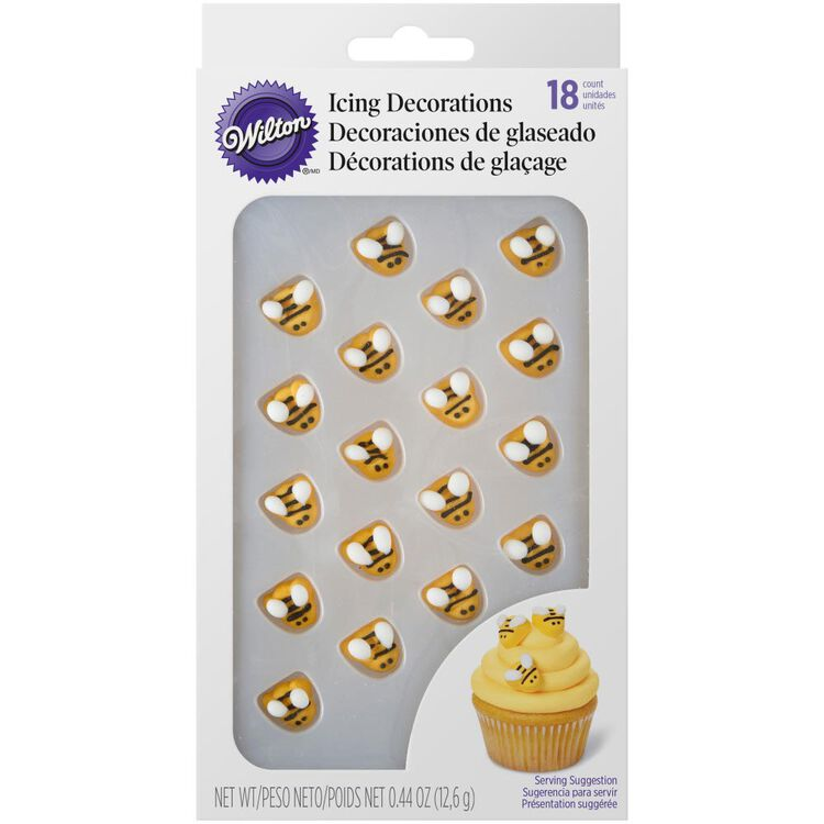 Bumble Bee Icing Decorations, 18-Count
