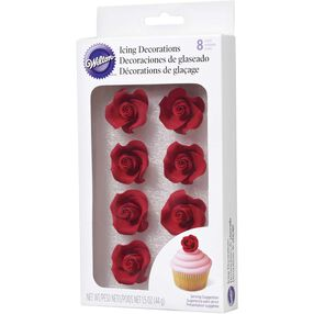 Red Rose Icing Decorations