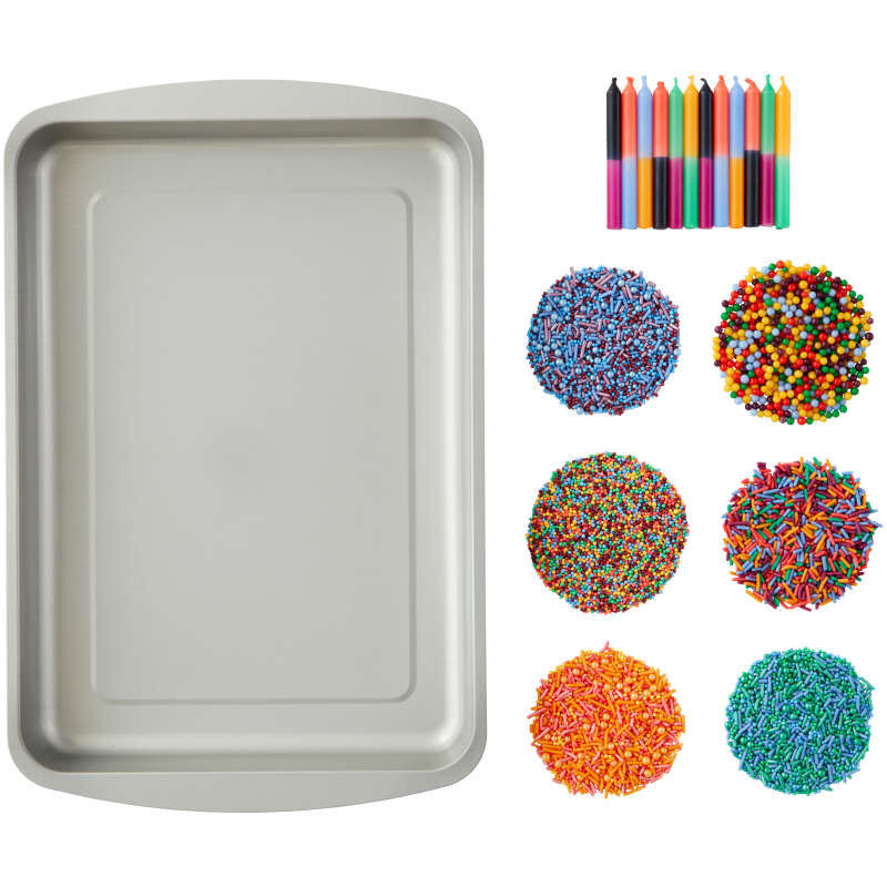 Triangle Print Birthday Cake Pan and Decorating Set, 3-Piece image number 0