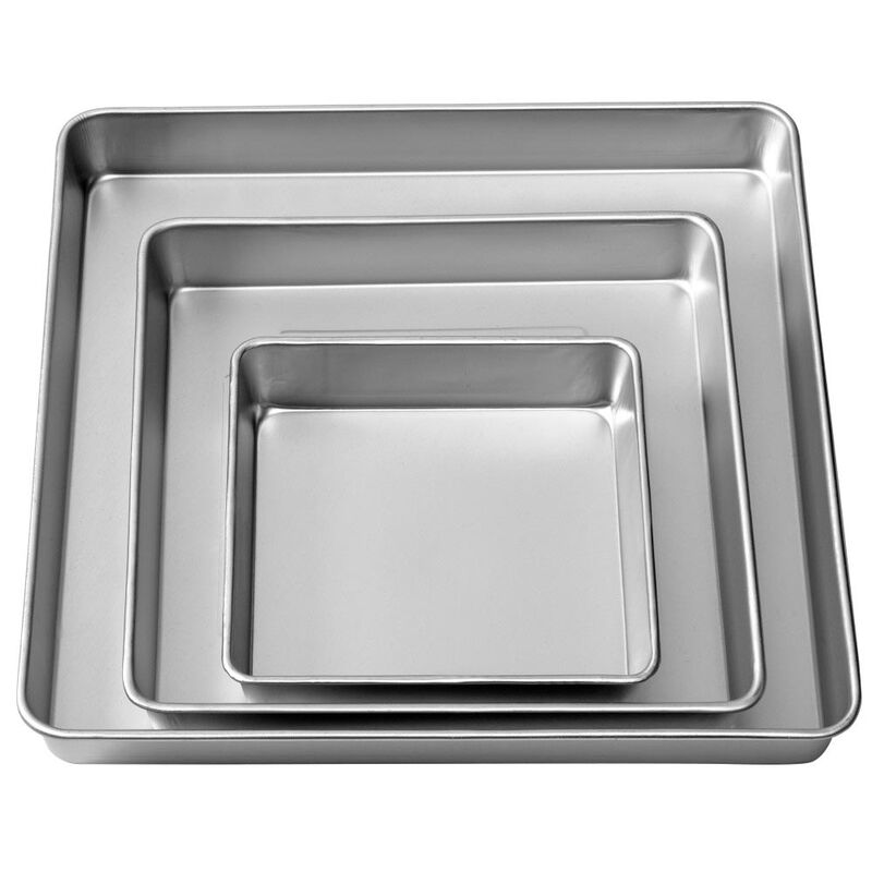 Performance Pans Square Cake Pans Set, 3 Piece -  8, 12 and 16-Inch Cake Pans image number 0