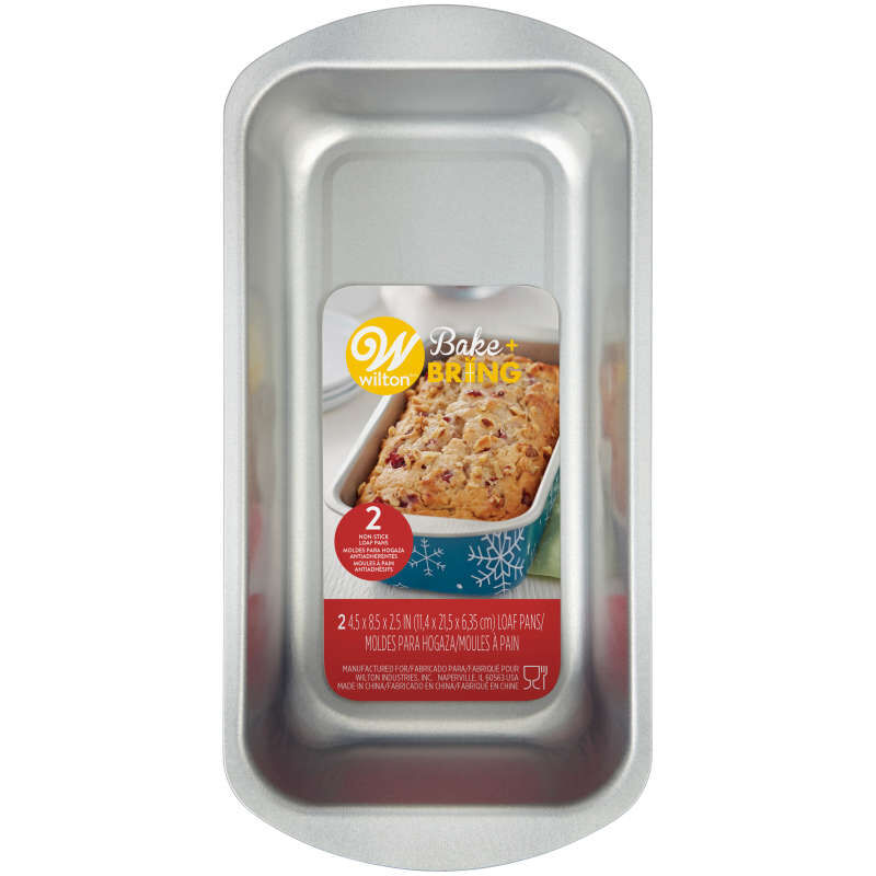 Bake and Bring Snowflake Print Non-Stick Loaf Pans, 2-Count image number 1