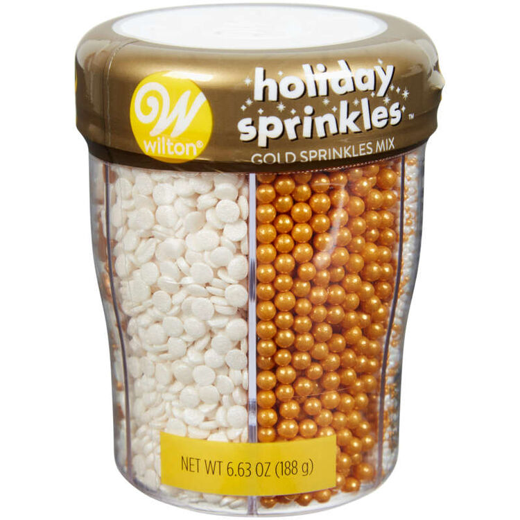6-Cell Gold and White Holiday Sprinkles, 6.98 oz.