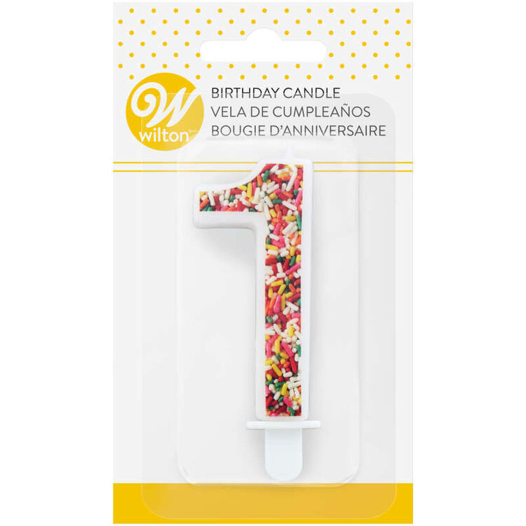 Sprinkle Pattern Number 1 Birthday Candle, 3-Inch