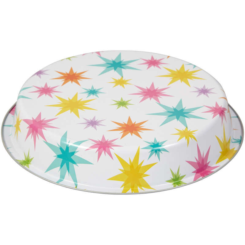 Bake and Bring Starburst Print Non-Stick Round Cake Pan, 8.5-Inch image number 2