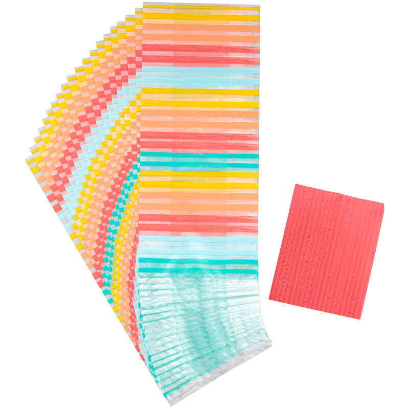Yellow, Orange, Red and Blue Striped Treat Bags and Ties, 20-Count image number 0