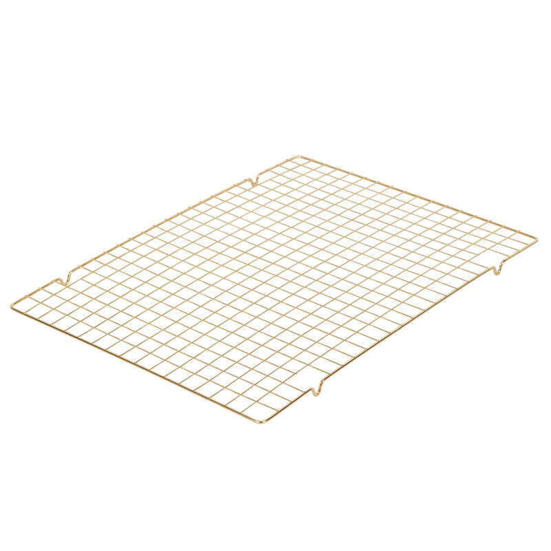 Non-Stick Diamond-Infused Navy Blue Mega Cookie Sheet with Gold Cooling Grid Set image number 3
