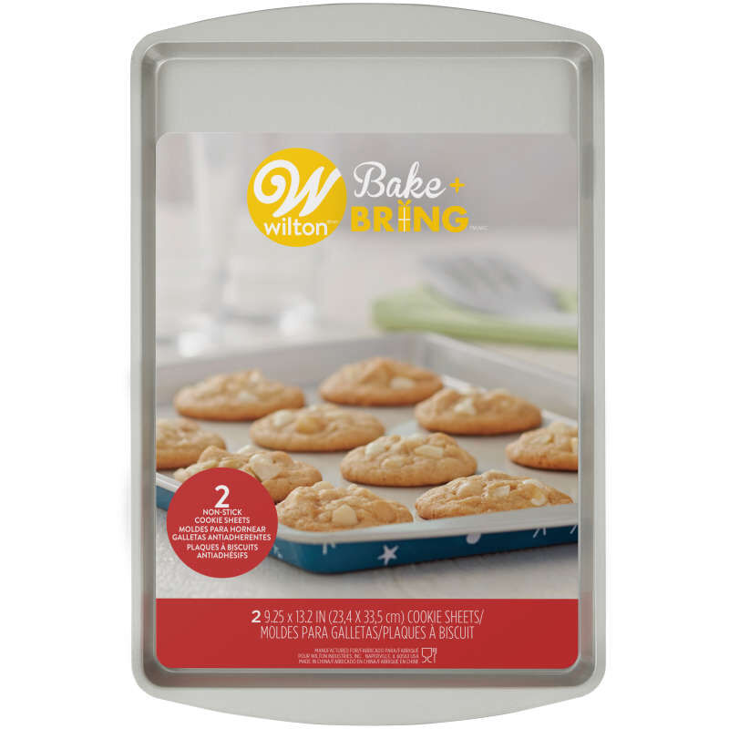 Bake and Bring Snowflake Print Non-Stick 9 x13 Cookie Sheet Set, 2-Count image number 1