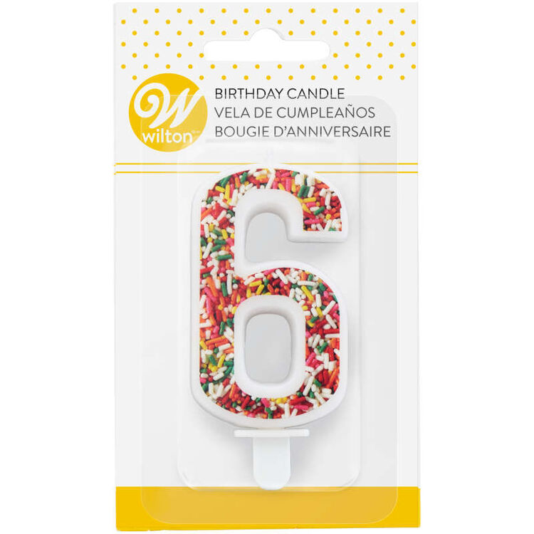 Sprinkle Pattern Number 6 Birthday Candle, 3-Inch