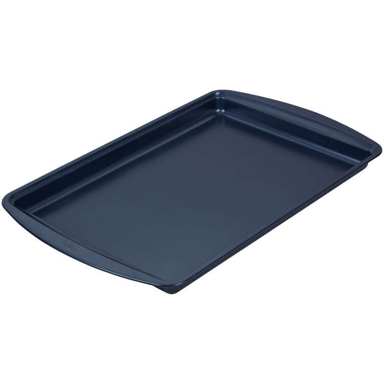 Diamond-Infused Non-Stick Large Navy Blue Cookie Sheet with Gold Cooling Grid Set
