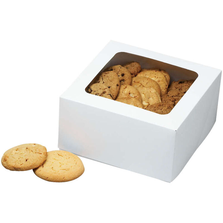White Bakery Boxes with Cookies