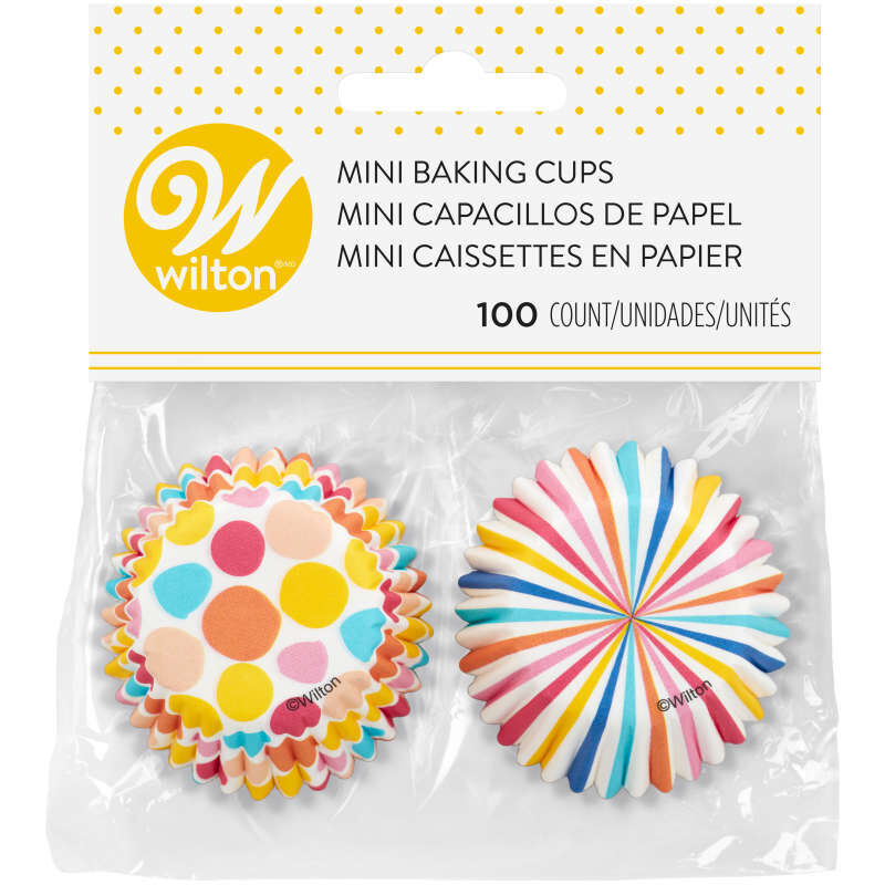 Colorful Polka Dot and Stripes Mini Baking Cups, 100-Count image number 1