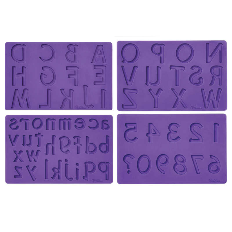 Silicone Letters and Numbers Fondant and Gum Paste Molds, 4-Piece - Cake Decorating Supplies image number 0