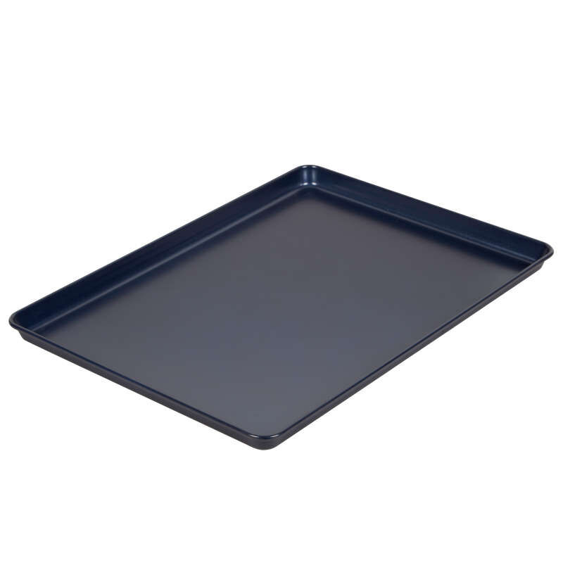 Non-Stick Diamond-Infused Navy Blue Mega Cookie Sheet with Gold Cooling Grid Set image number 2