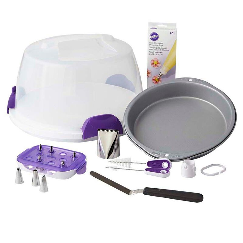 Cake Baking and Decorating Supplies - Carry and Display Set,  10-Piece - 9-Inch Round Cake Pan, Cake Caddy, Decorating Tips , 9-Inch Angled Spatula, Bag Cutter and Brush, Icing Tip, 16-Inch Disposable Bags image number 0