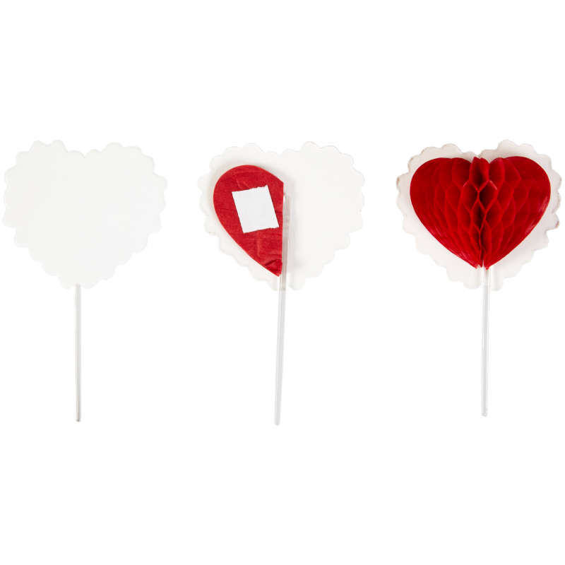 Honeycomb Heart Cupcake Toppers, 12-Count image number 0