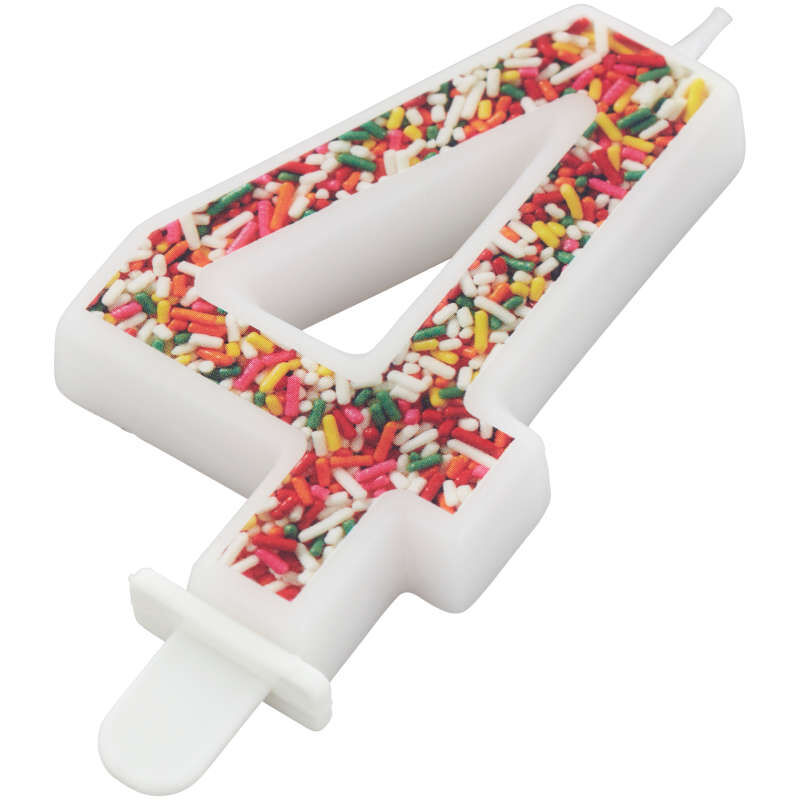 Sprinkle Pattern Number 4 Birthday Candle, 3-Inch image number 1