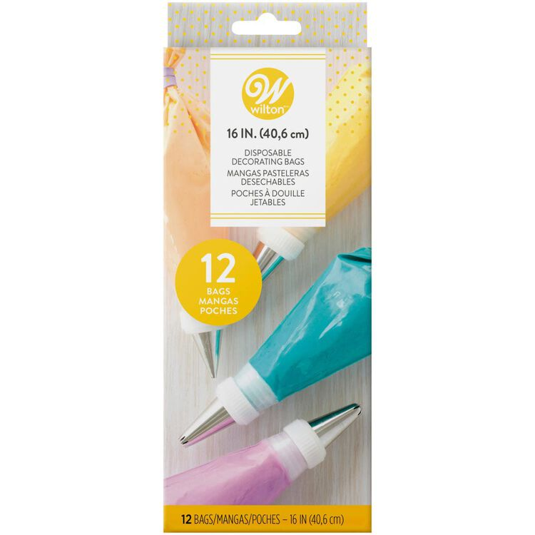 Decorating Bags, 16-Inch Disposable Piping Bags, 12-Count