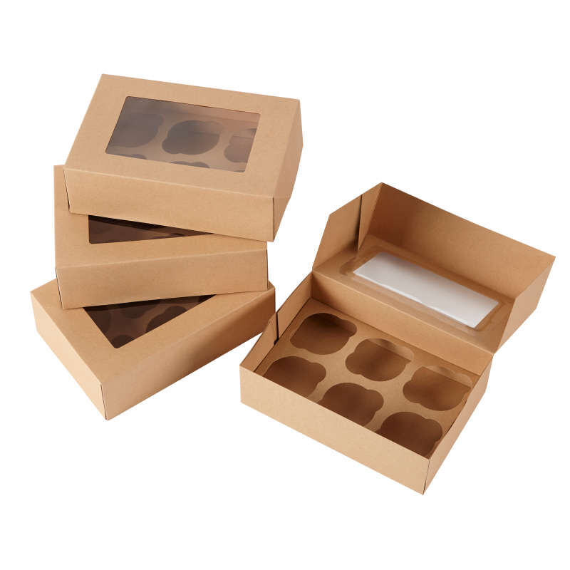 6-Cavity Kraft Cupcake Gift Boxes, Multipack of 2 image number 0