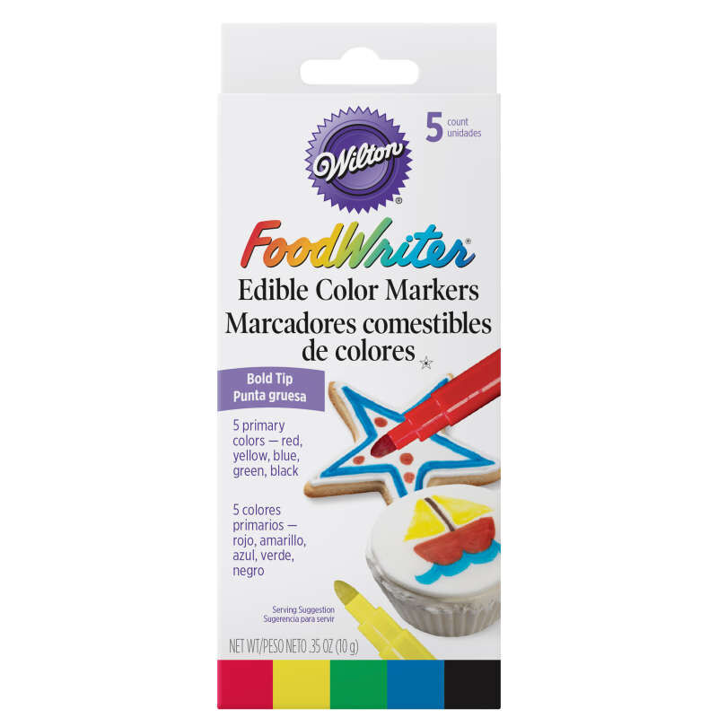 FoodWriter Color Bold Tip Edible Food Markers, 5-Piece image number 1