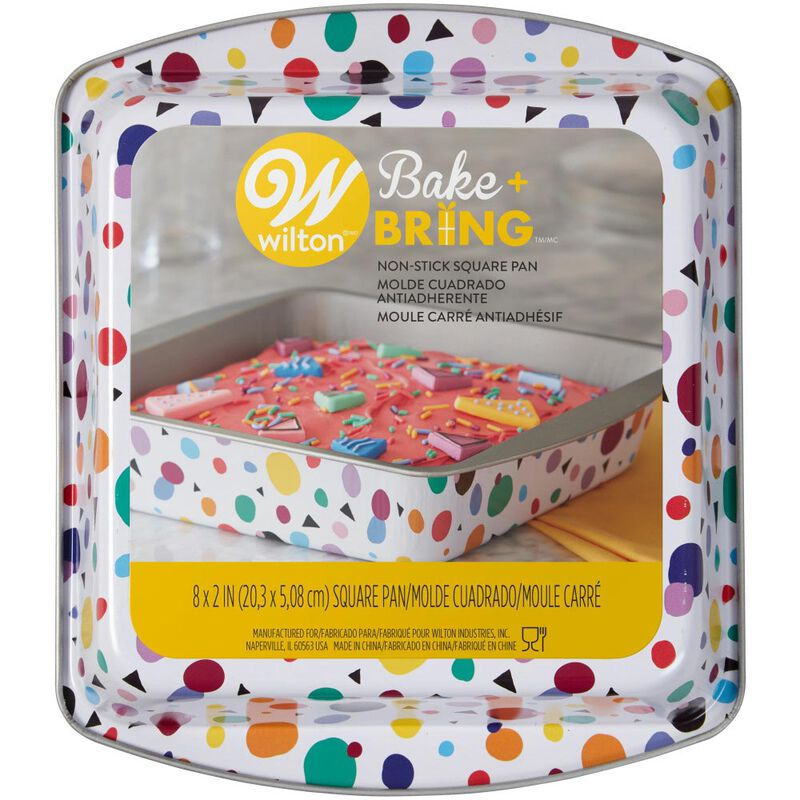 Bake and Bring Geometric Print Non-Stick 8-Inch Square Cake Pan image number 1