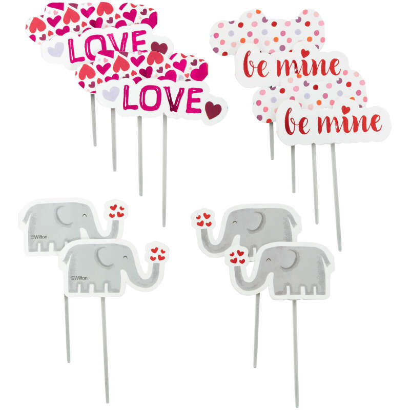 Valentine's Day Elephant Cupcake Toppers, 12-Count image number 0