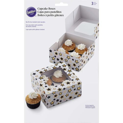 Black and Gold Stars Cupcake Box in packaging