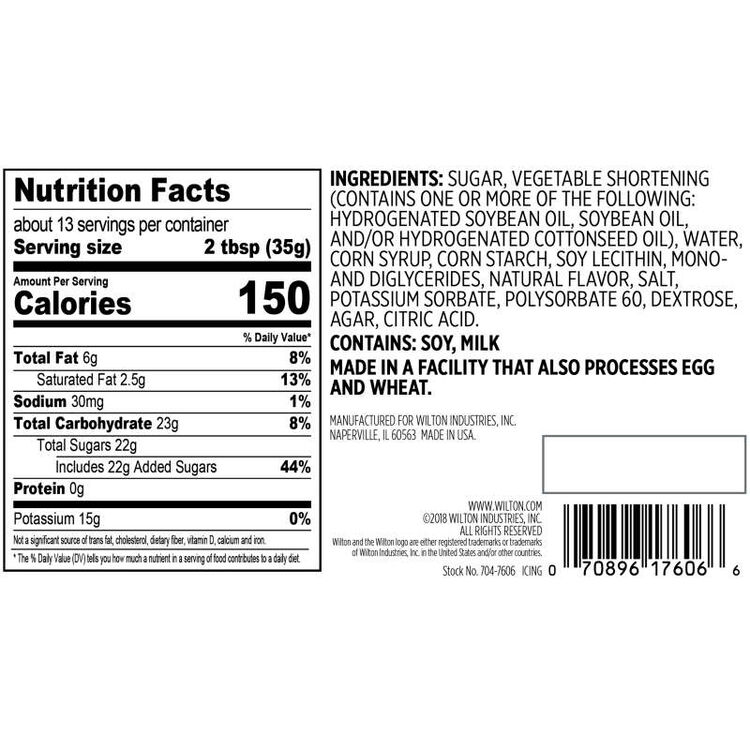 Naturally Flavored Warm Vanilla Frosting Nutrition Facts and Ingredients