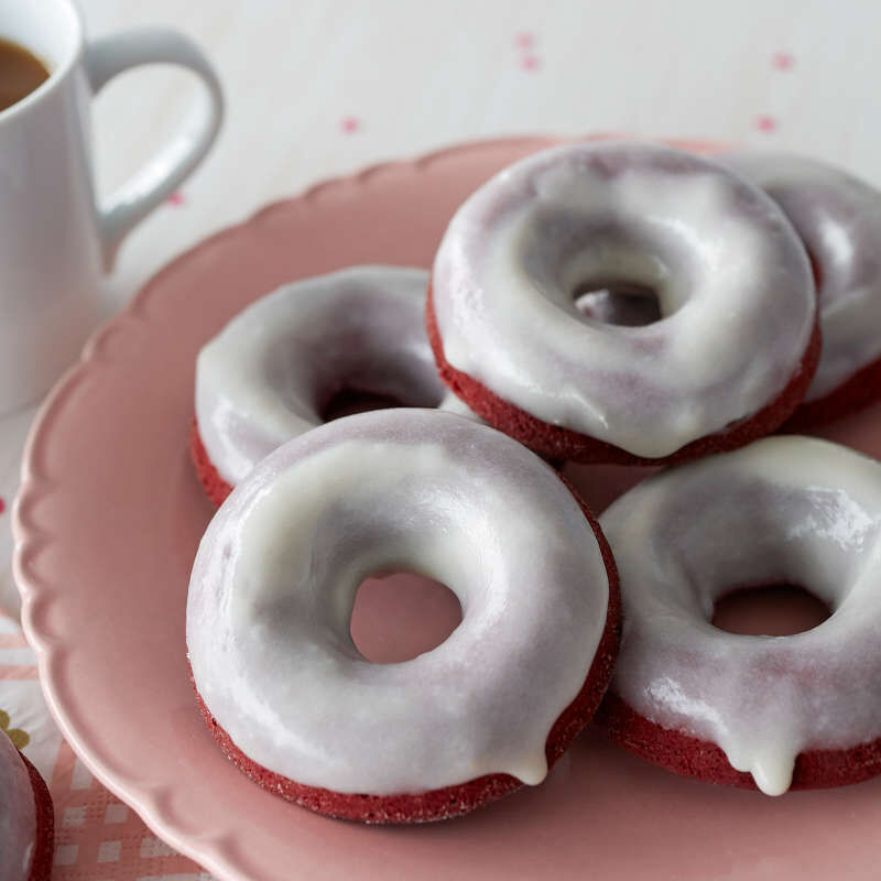 Red Velvet Cake Donuts with Cream Cheese Glaze image number 4