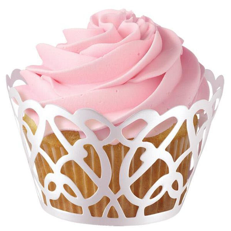 White Pearl Swirl Cupcake Wrap image number 0