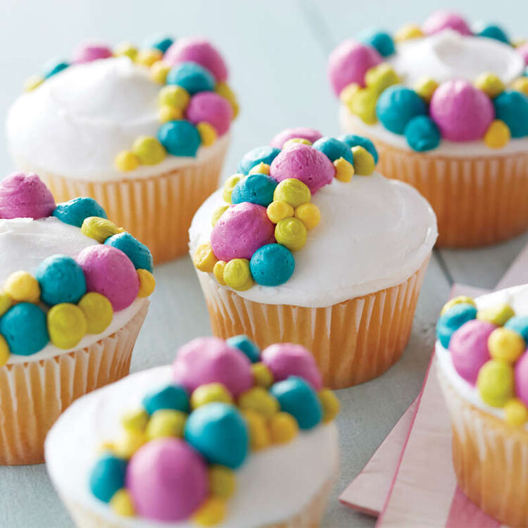 Vanilla Cupcakes with Colorful Buttercream Dots