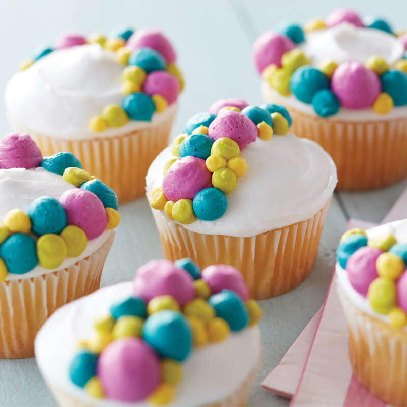 Vanilla Cupcakes with Colorful Buttercream Dots image number 5