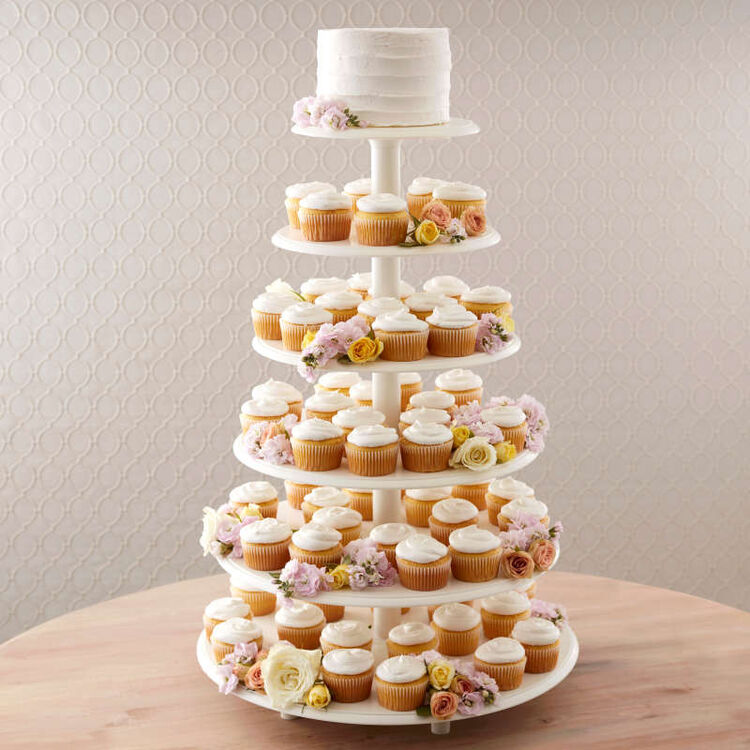 Six Tiers of Simple White Cupcakes