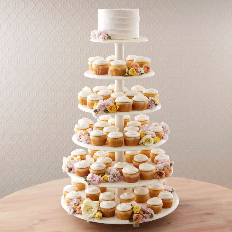 Six Tiers of Simple White Cupcakes image number 3