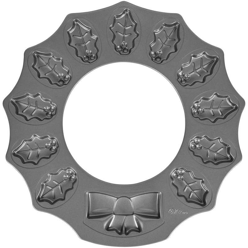 Non-Stick Holly Wreath Shaped Cookie Pan, 12-Cavity image number 0