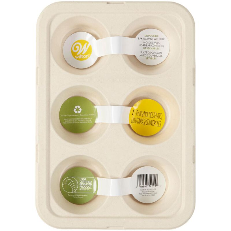 Disposable 6-Cup Muffin Baking Pans with Lids, 2-Count image number 1
