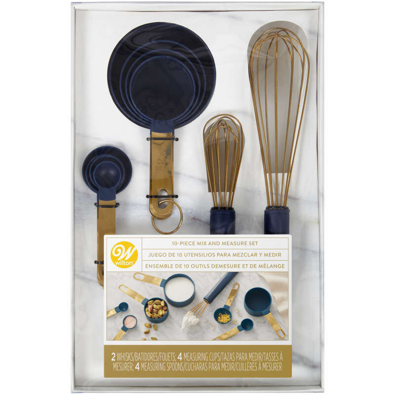 Navy Blue and Gold Kitchen Utensils Mix and Measure Set, 10-Piece image number 1