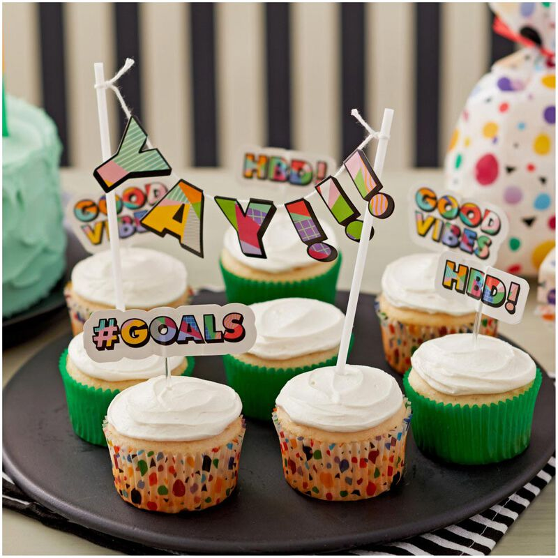 Pop Art Phrase Cupcake Toppers, 12-Count image number 2