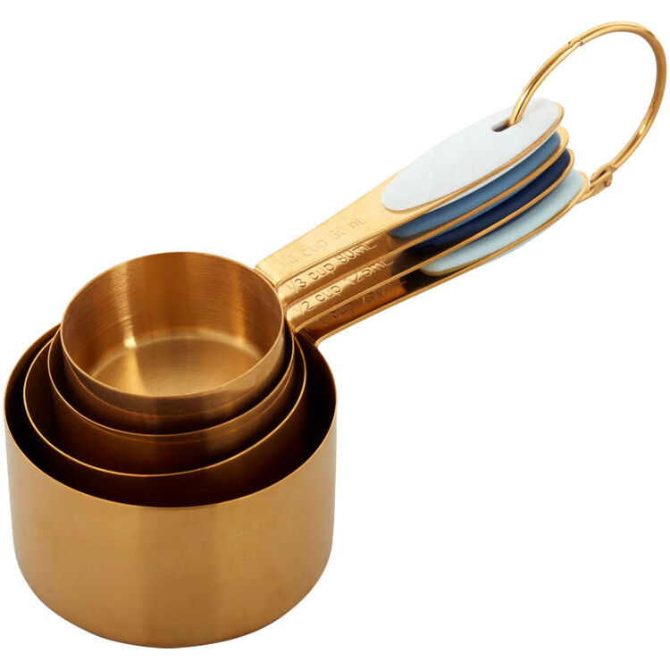 Navy & Gold Nesting Measuring Cups with Snap-On Ring, 4-Count