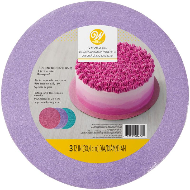 Assorted 12-Inch Glitter Cake Circles, 3-Count image number 1