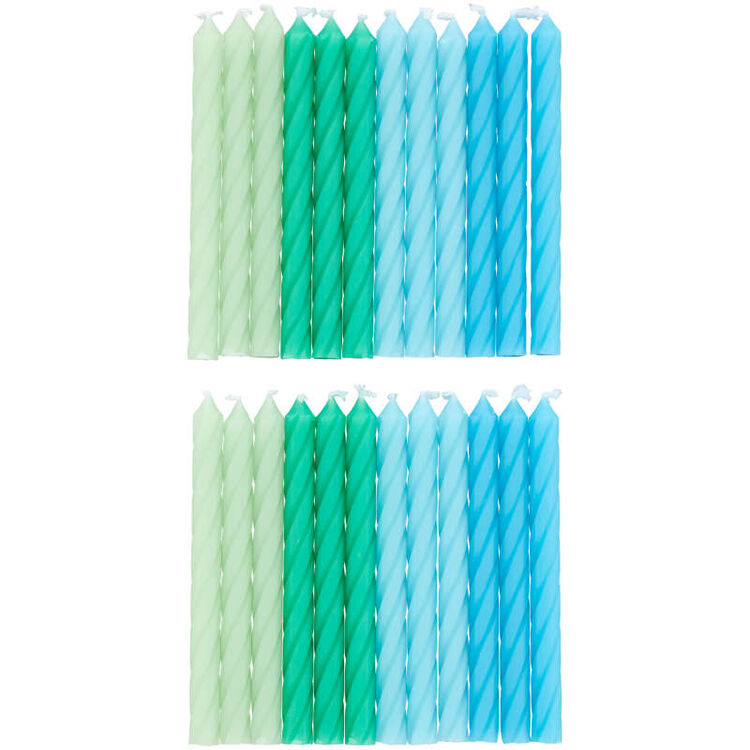 Green and Blue Ombre Birthday Candles, 24-Count