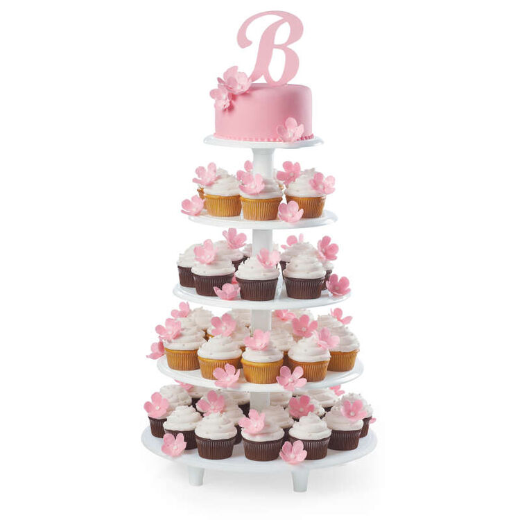 Five Tier Cupcake and Cake on Stand