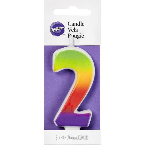 Number 2 Rainbow Birthday Candle