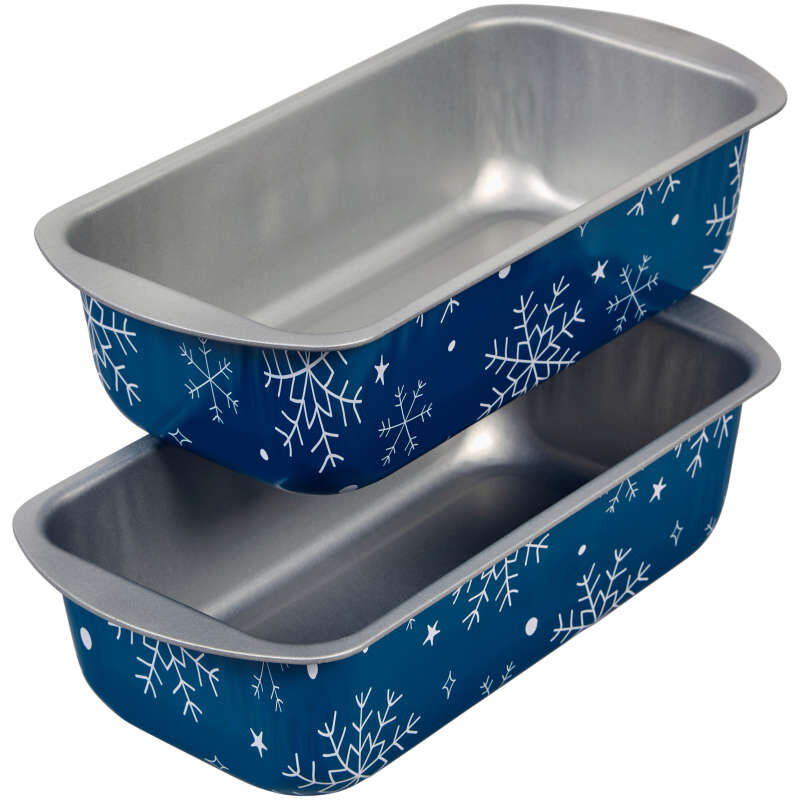 Bake and Bring Snowflake Print Non-Stick Loaf Pans, 2-Count image number 3