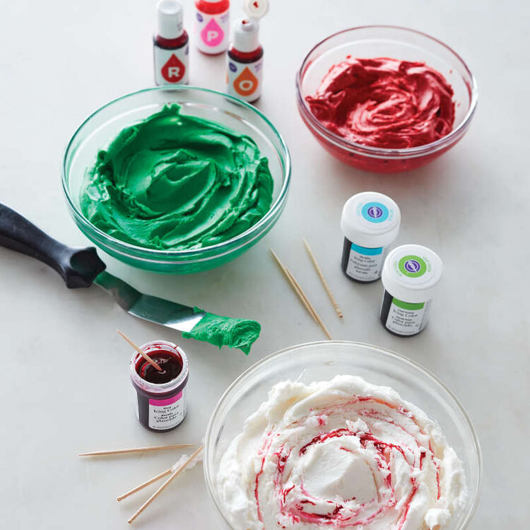 Red and Green Tinted Buttercream Frosting