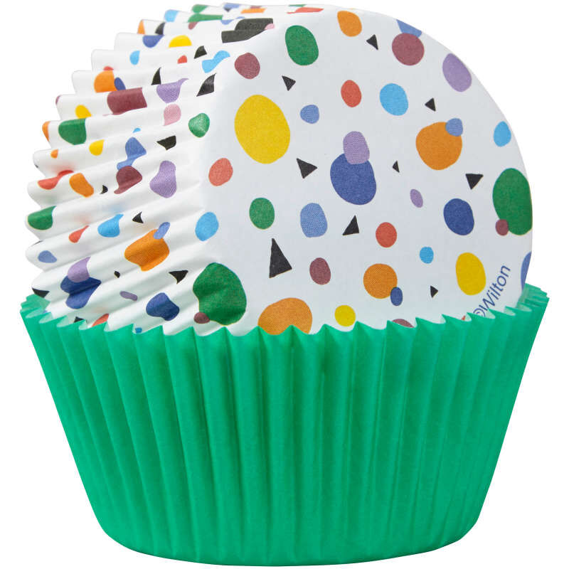 Geometric Print and Solid Green Cupcake Liners, 75-Count image number 2