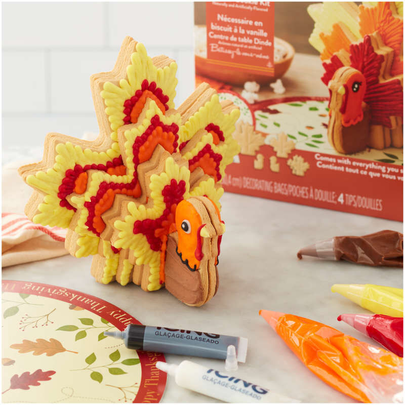 Build It Yourself Turkey Centerpiece Vanilla Cookie Decorating Kit image number 3
