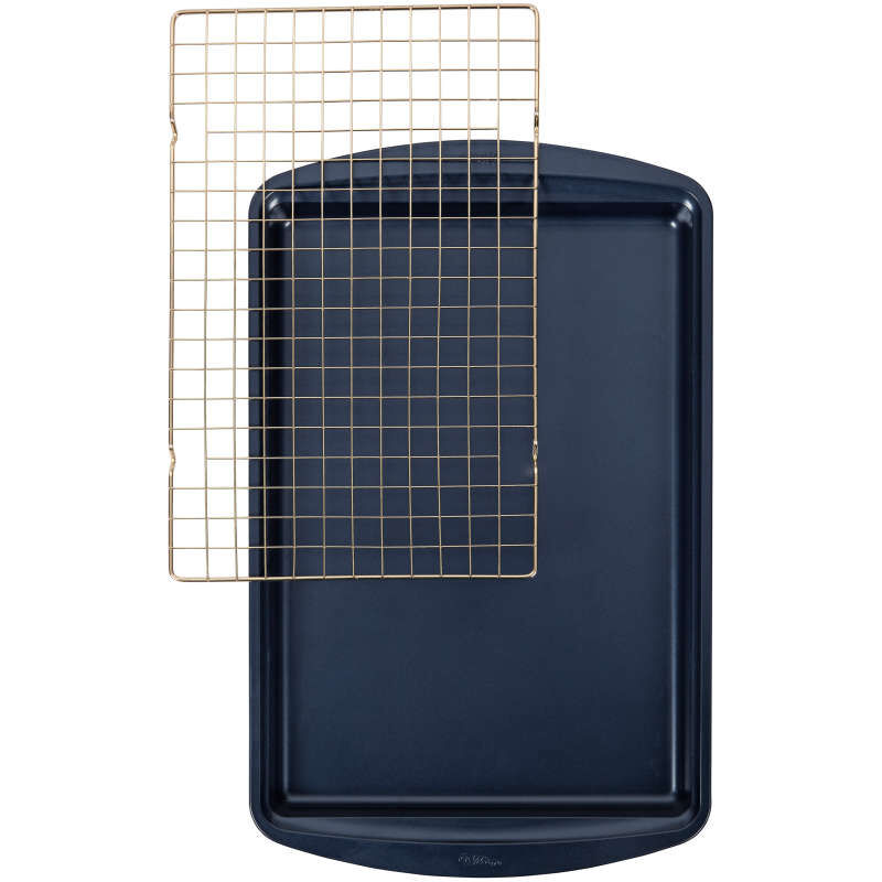 Diamond-Infused Non-Stick Large Navy Blue Cookie Sheet with Gold Cooling Grid Set image number 0