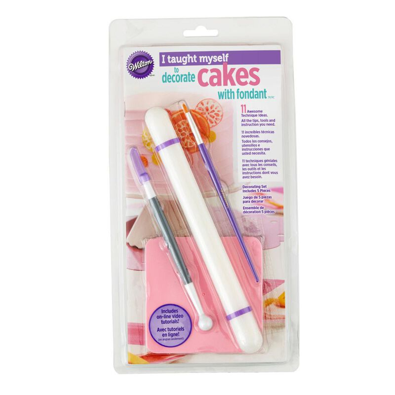 """I Taught Myself To Decorate Cakes With Fondant"" Book Set - Fondant Cutter and Tools image number 1"