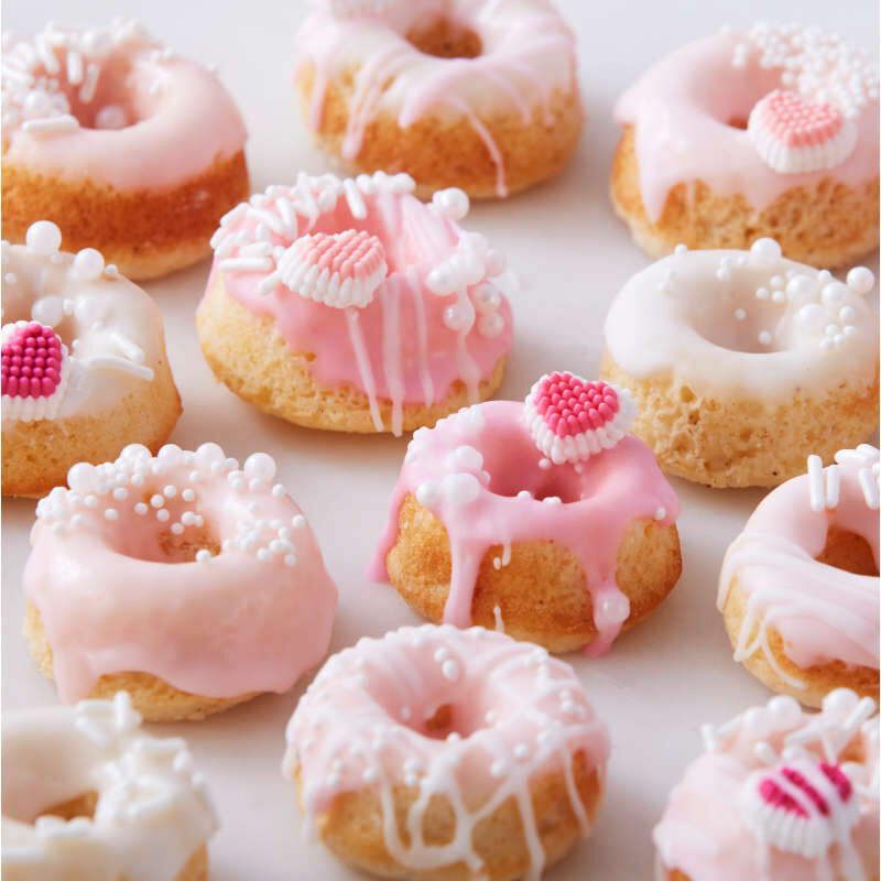 Cake Donuts with Pink Icing and Mini Candy Hearts image number 3