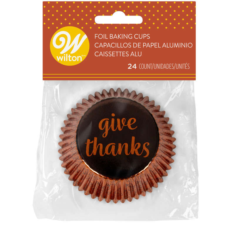 Give Thanks Foil Cupcake Liners, 24-Count image number 1